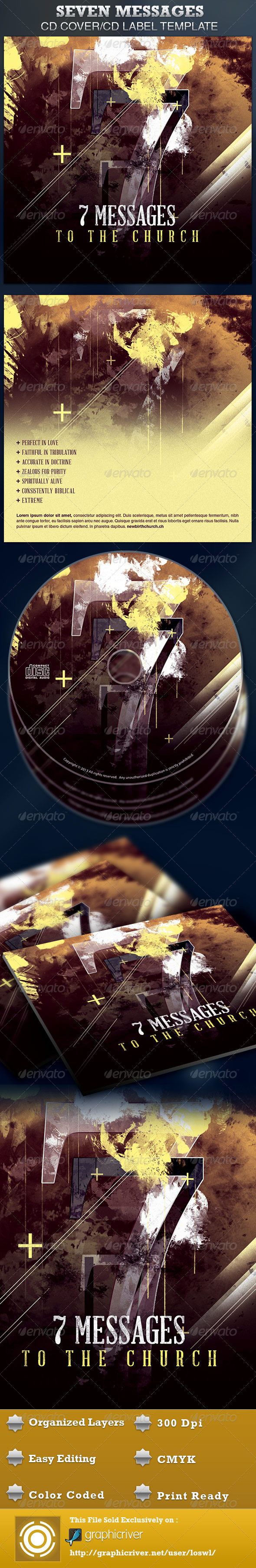 Seven Messages  CD Artwork Template - CD & DVD Artwork Print Templates