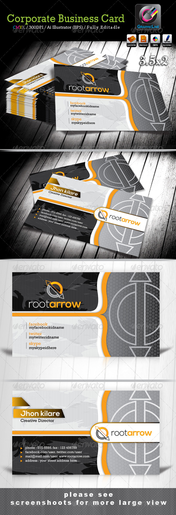 GraphicRiver Root Arrow Corporate Business Card 3979992