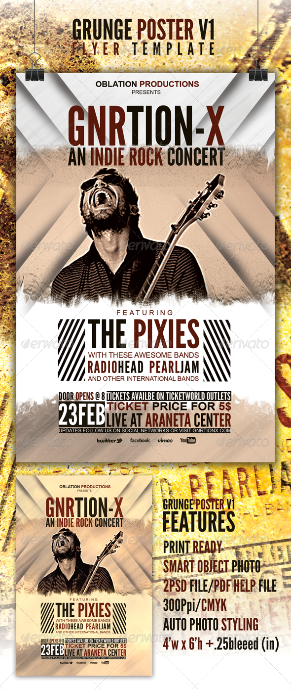 Grunge Poster v1 Flyer Template - Concerts Events