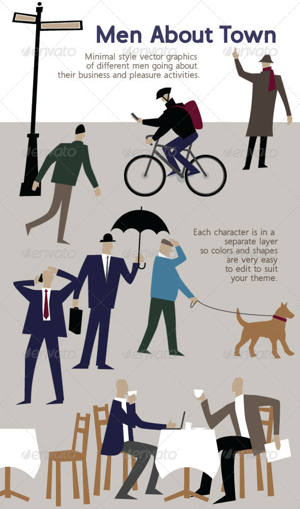 GraphicRiver Men Characters Minimal Style Illustrations 4115390