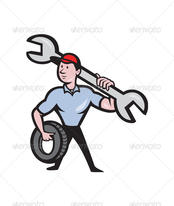 GraphicRiver Mechanic With Spanner And Tire Wheel 4115883