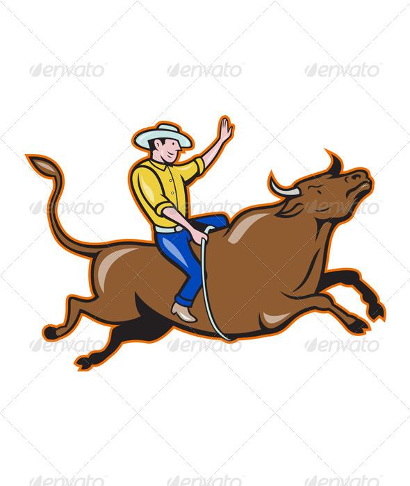 GraphicRiver Rodeo Cowboy Bull Riding Retro 4115942