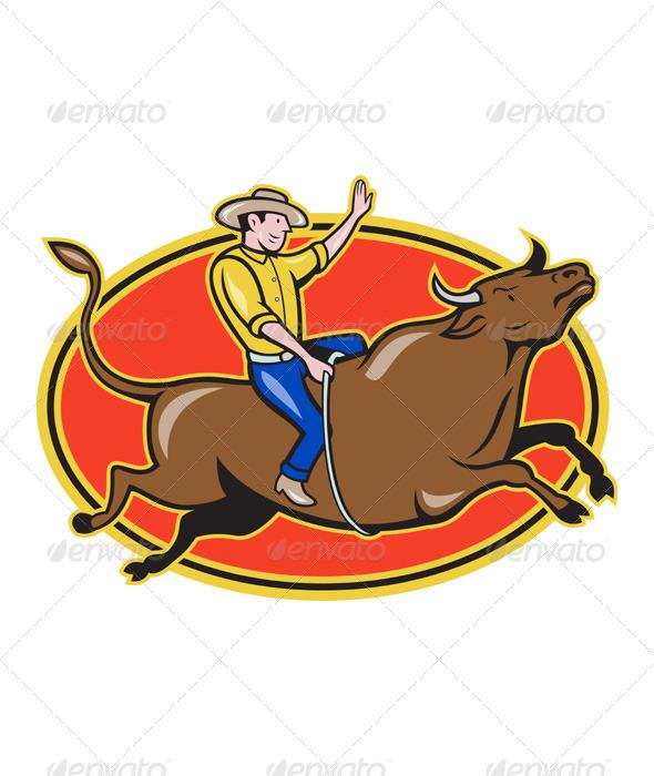GraphicRiver Rodeo Cowboy Bull Riding Retro 4115945
