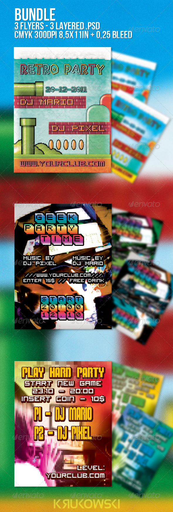 Geek Flyer Bundle - 3 Flyers - Clubs & Parties Events