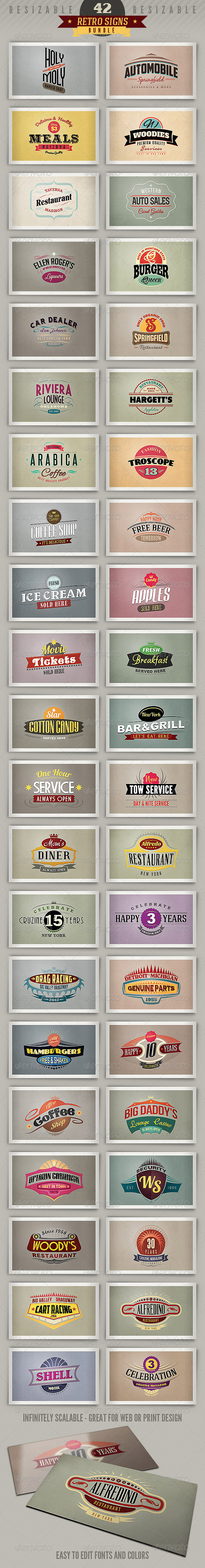 GraphicRiver 42 Retro Signs or Banners Bundle 4116200