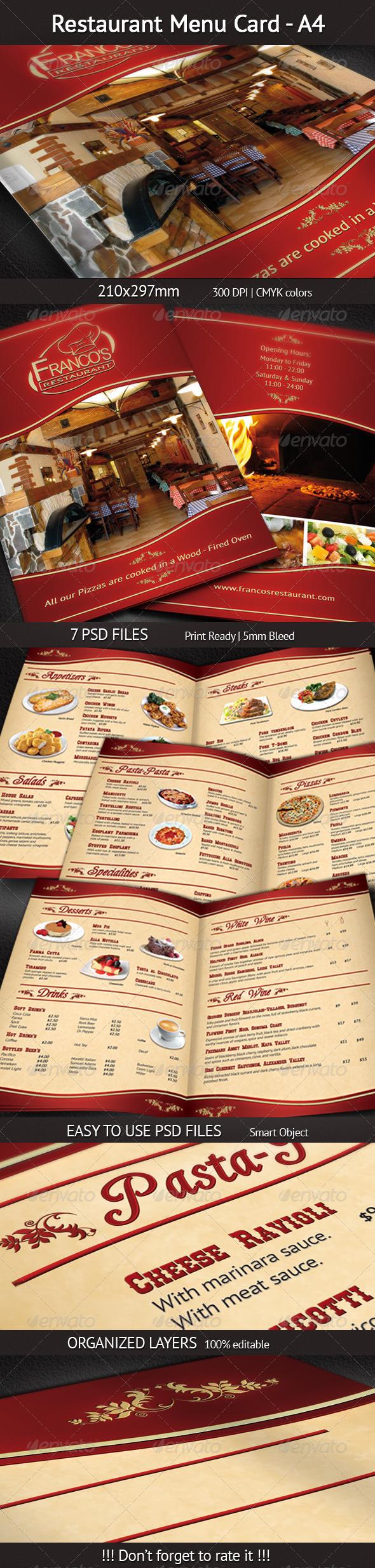 GraphicRiver Restaurant Menu Card A4 4116613