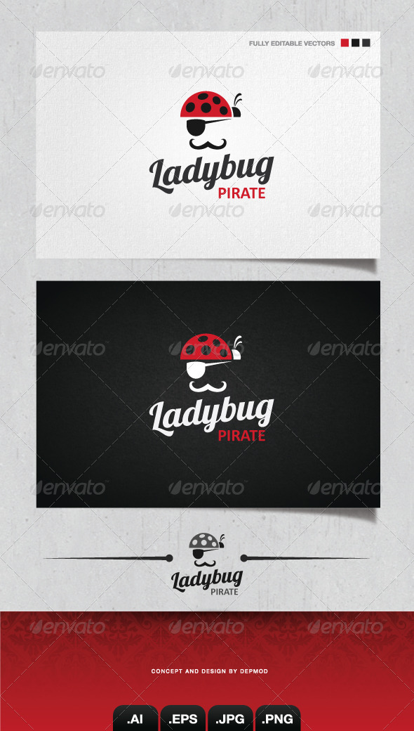 GraphicRiver Ladybug Pirate Logo 4045462