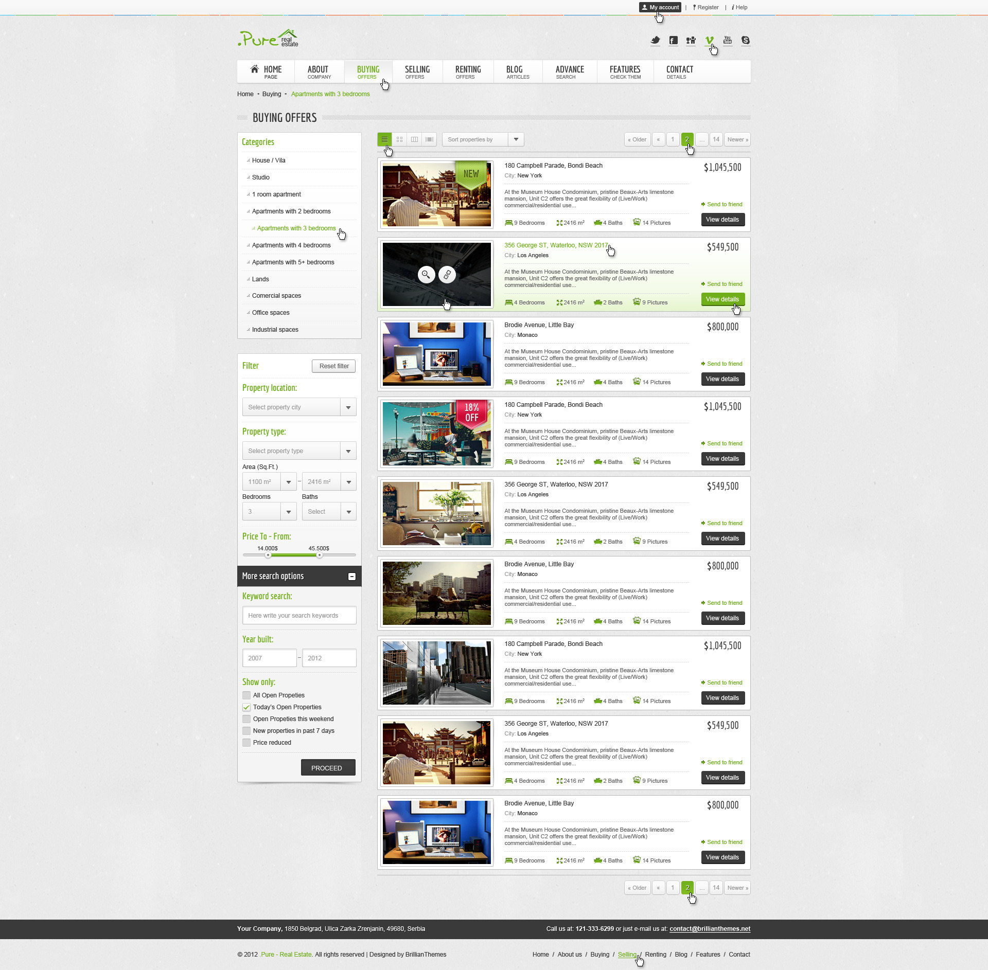 .Pure Real Estate HTML5 & CSS3 Template