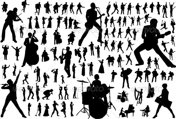 GraphicRiver Music Vector Silhouettes 4117747