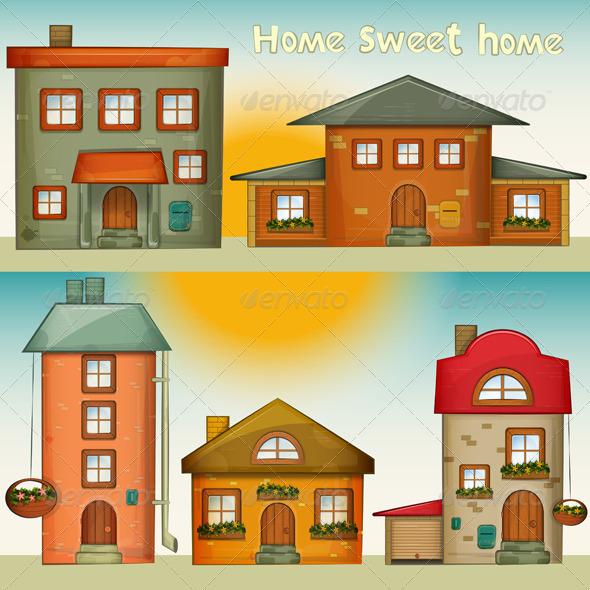 GraphicRiver Cartoon Houses Set 4117819
