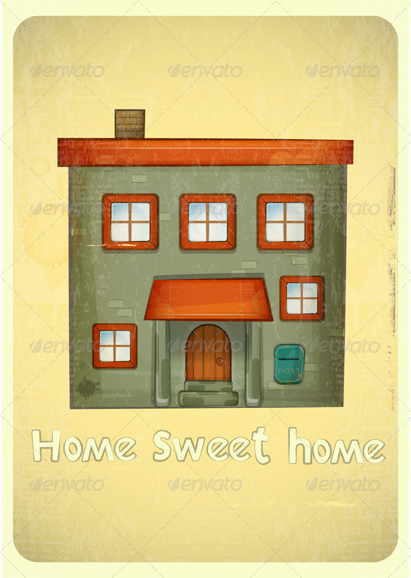 GraphicRiver Cartoon Houses Postcard 4117853