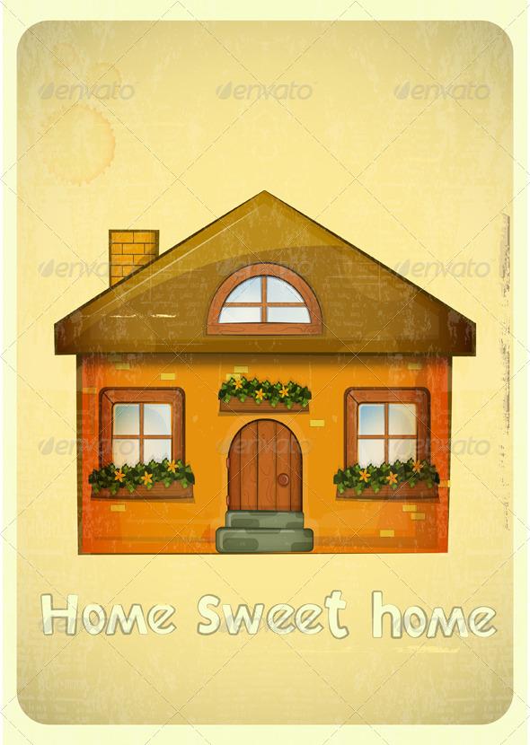 GraphicRiver Cartoon Houses Postcard 4117856
