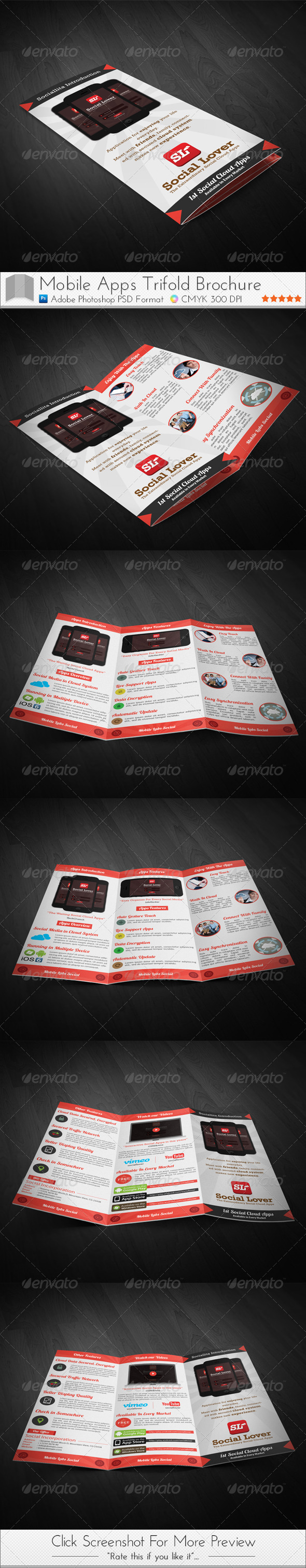 GraphicRiver Social Media Cloud Apps Trifold Brochure 4117992
