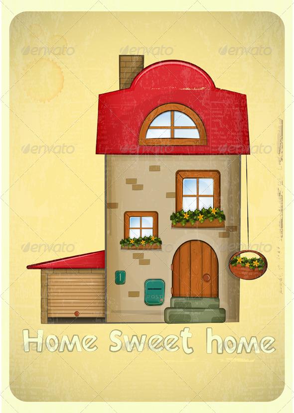 GraphicRiver Cartoon Houses Postcard 4118025