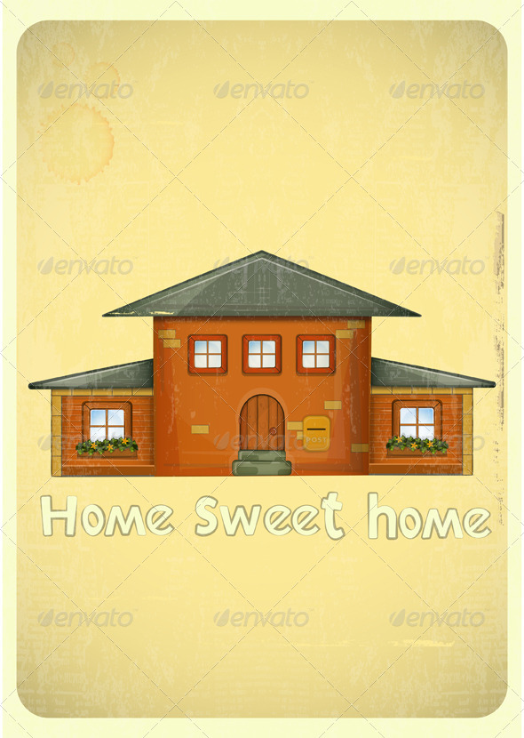 GraphicRiver Cartoon Houses Postcard 4118031