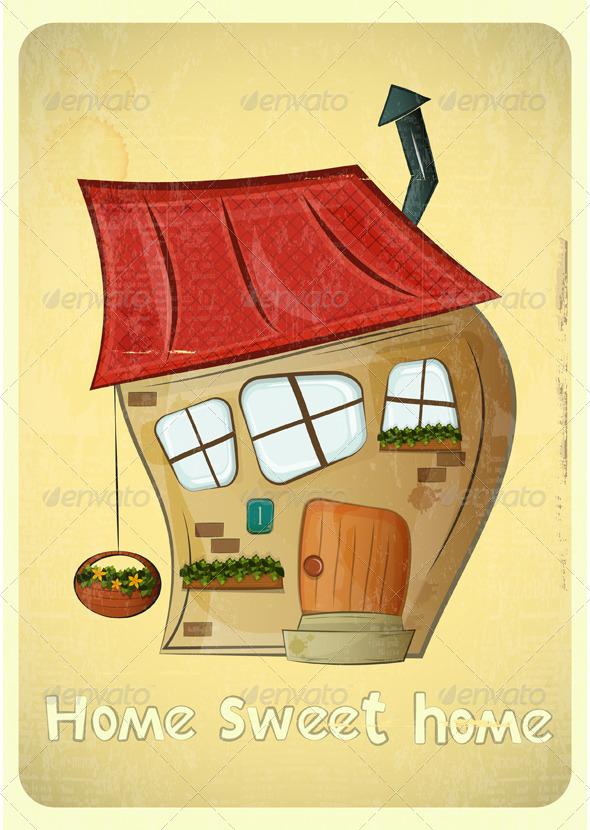 GraphicRiver Cartoon Houses Postcard 4118082