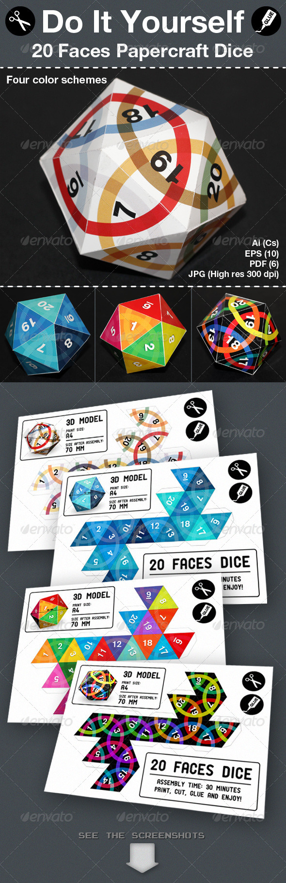 Twenty Faces Papercraft Dice