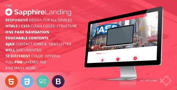 ThemeForest Sapphire Responsive Landing Page Template 4103445