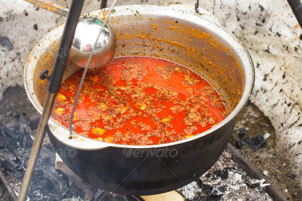 Goulash in cauldron - Stock Photo - Images