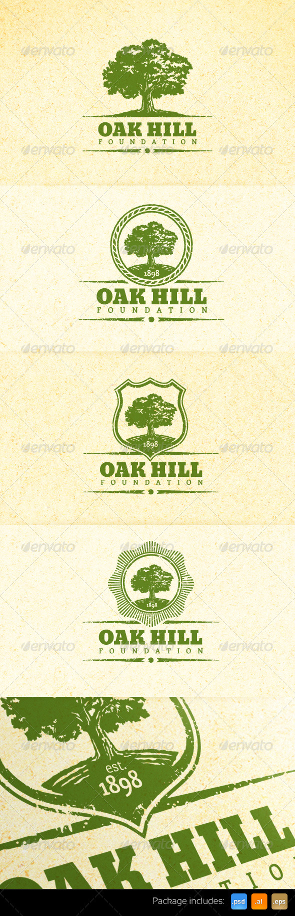 Holistic Oak Tree Vintage Emblem Logo Set - Nature Logo Templates