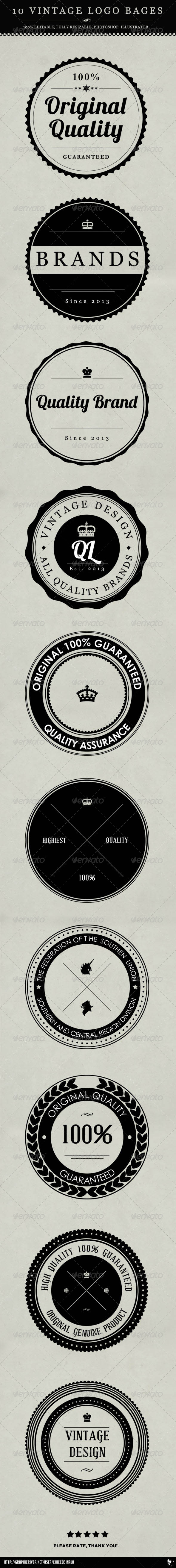 10 Vintage Logo Badges - Badges & Stickers Web Elements