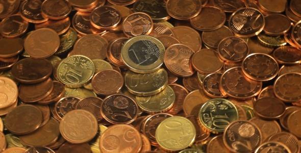 Euro Coins Rotating