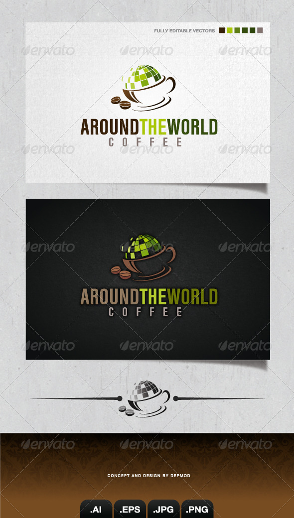 GraphicRiver Around The World Coffee Logo 4052130