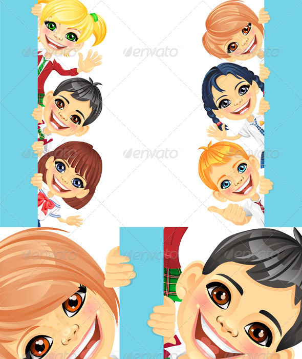 Vector Happy Smile Kids and Banner 3 - People Characters