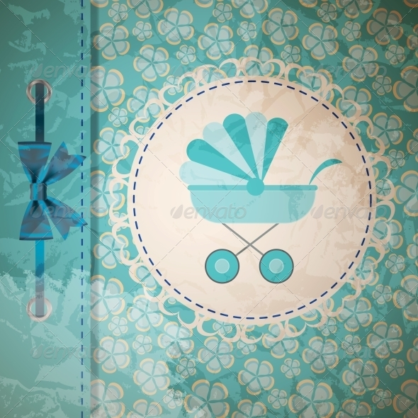 GraphicRiver Vector Illustration of Blue Baby Carriage 4119896