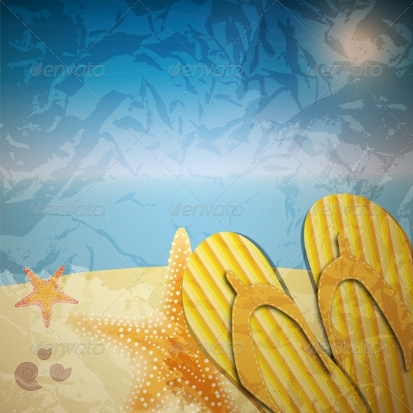 GraphicRiver Sandals and Starfish at Beach 4120015