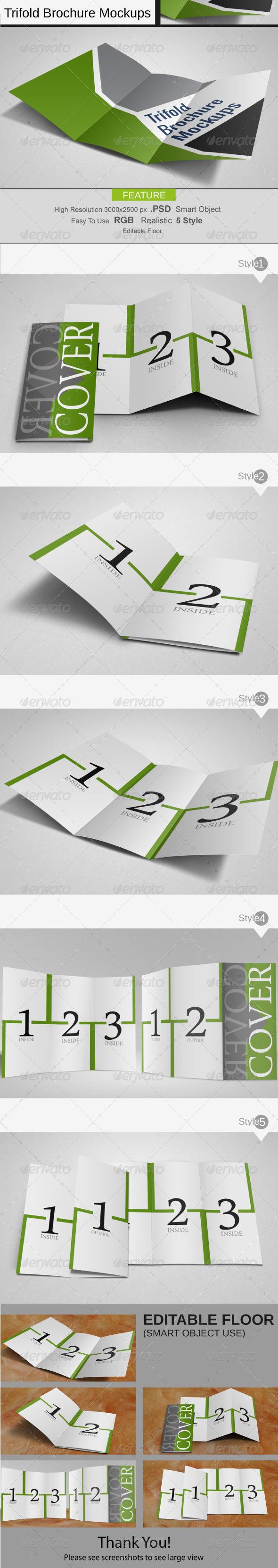 Trifold Brochure Mockups - Print Product Mock-Ups