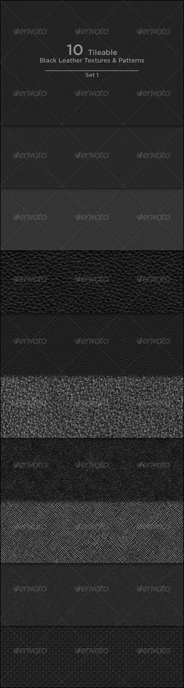 GraphicRiver 10 Tileable Black Leather Textures Patterns 3922533