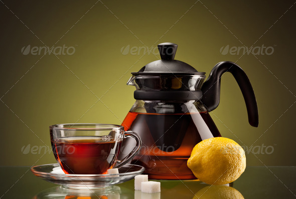 tea cup and pot - Stock Photo - Images