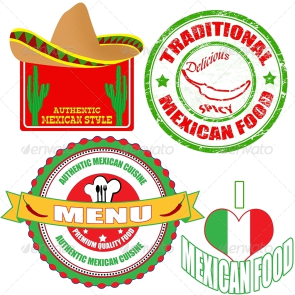GraphicRiver Set of Mexican Food Stamp and Labels 4121837