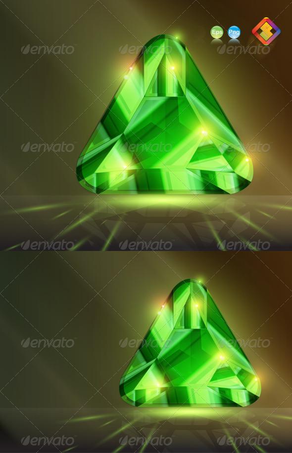 GraphicRiver Triangular Stone Bead in Emerald Green 4121886