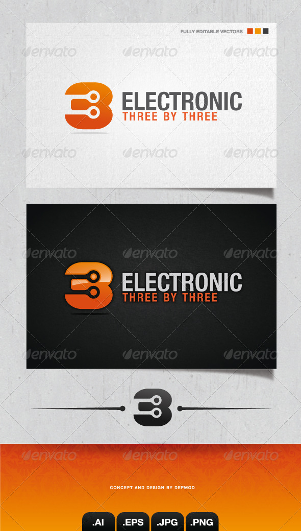 GraphicRiver Electronic Three By Three Logo 4053368
