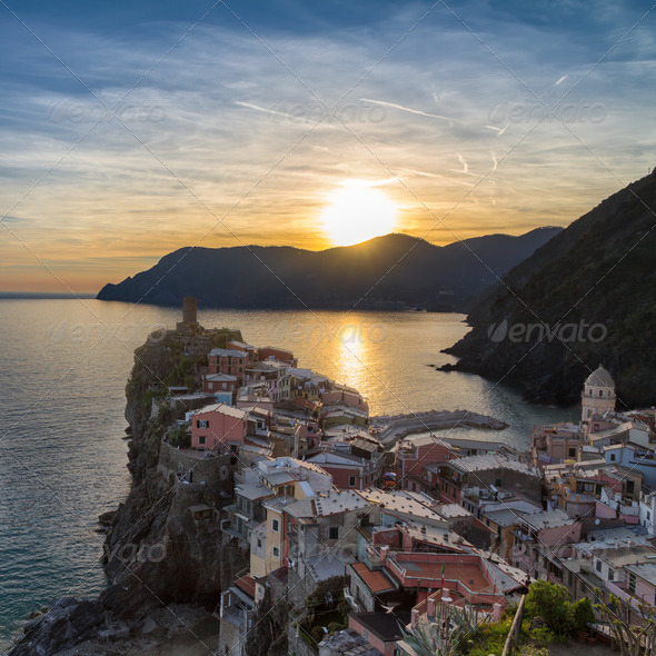 PhotoDune Vernazza at sunset Cinque Terre Italy 4124983