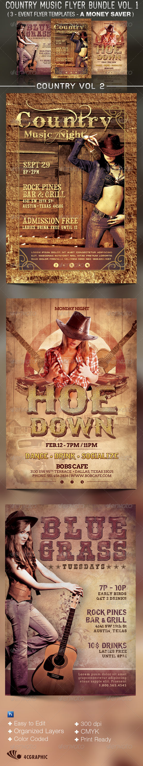 Country Music Flyer Templates Bundle Vol 2 - Flyers Print Templates