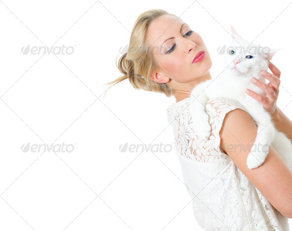 PhotoDune Young woman holding white cat Isolated on white 4125015