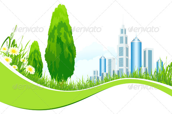 GraphicRiver Background with City Line 4125934