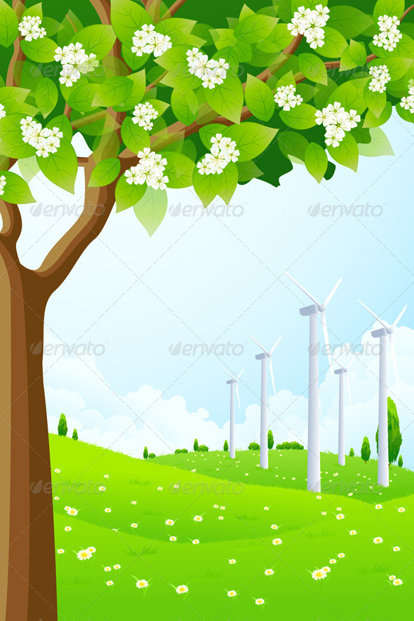 GraphicRiver Green Landscape with Wind Power Plant 4126465