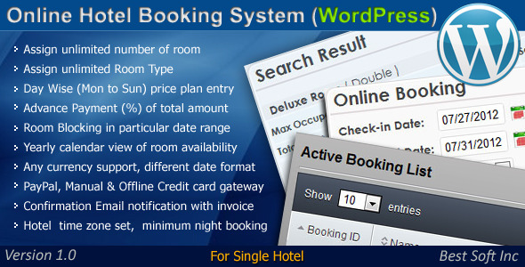 CodeCanyon Online Hotel Booking System WordPress Plugin 4092940