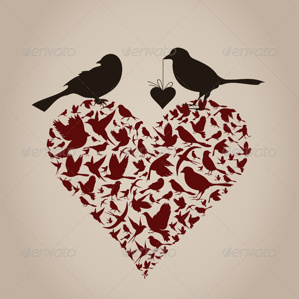 GraphicRiver Birds on Heart 4126845