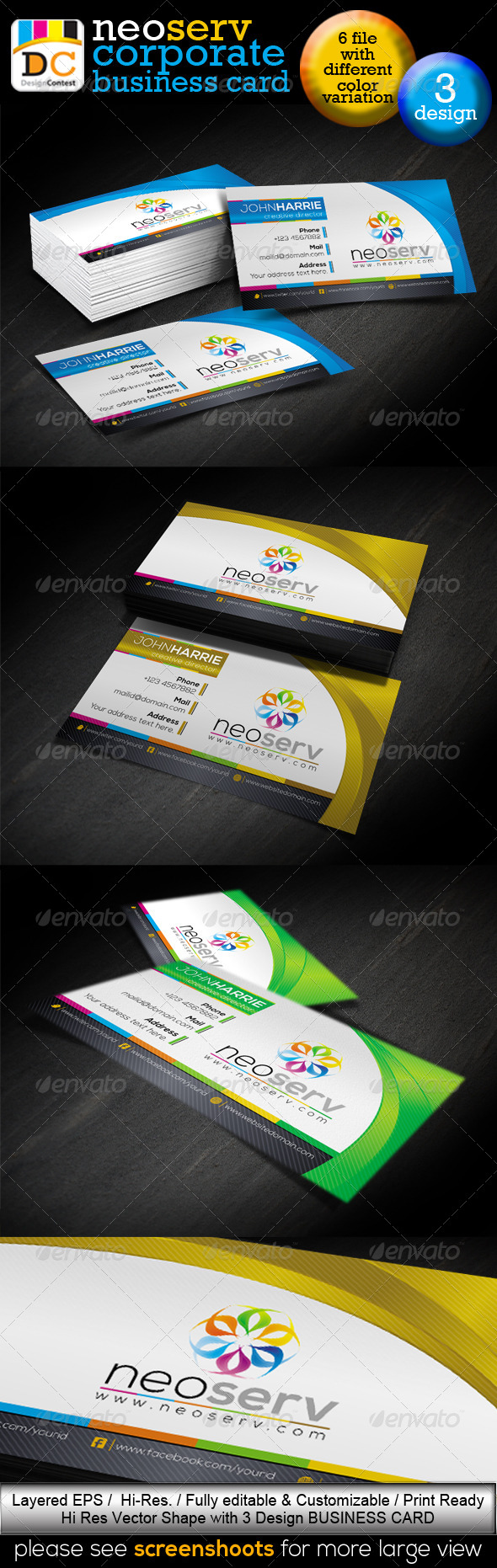 GraphicRiver NeoServ Corporate Creative Business Cards 3982414