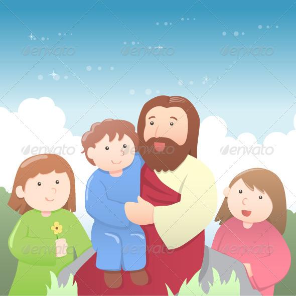 GraphicRiver Jesus with Kids Cartoon 4127553