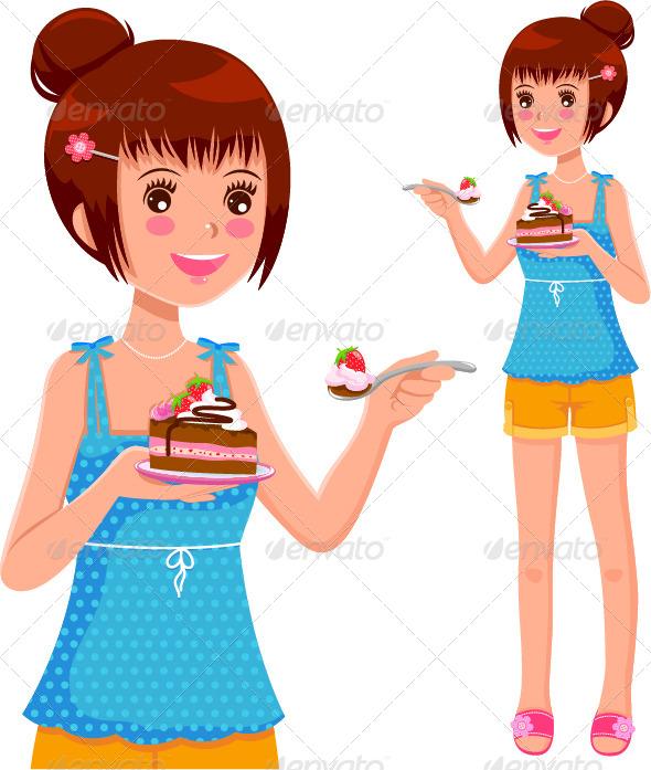 GraphicRiver Girl Eating Cake 4127819
