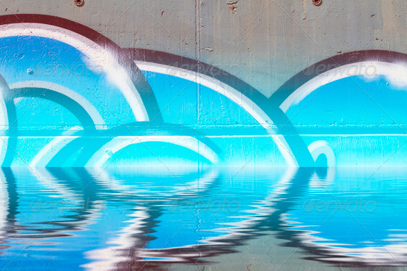 PhotoDune Abstract colorful graffiti reflection in the water artistic chr 4133009