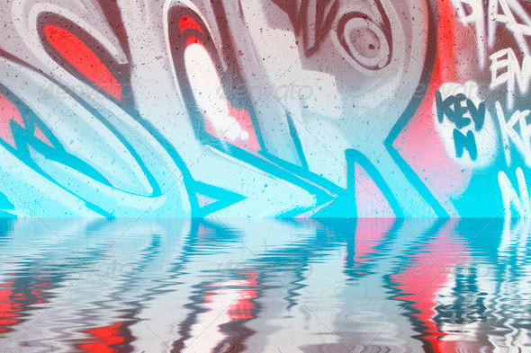 PhotoDune Abstract colorful graffiti reflection in the water 4133010