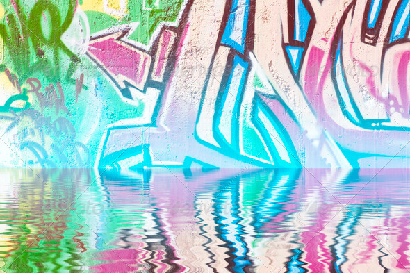 PhotoDune Abstract colorful graffiti reflection in the water 4133011