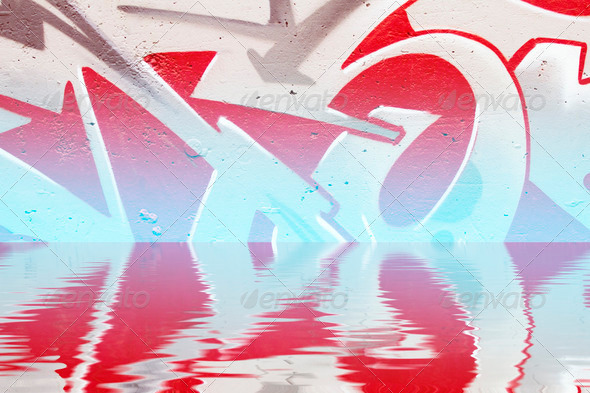 PhotoDune Graffiti reflection in the water red artistic symbols 4133020